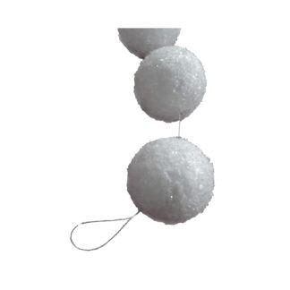 Schneeball-Girlande aus Styropor mit Schneeflockenoptik